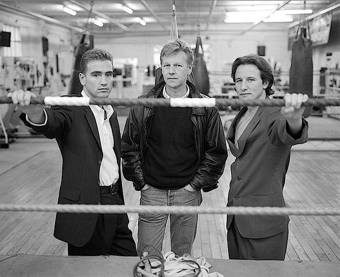 Mark Tibbs, Ron Peck & Jimmy Flint at the Peacock Gym in Canning Town where much of <strong>Real Money</strong> was filmed; photographer Hugo Glendinning.