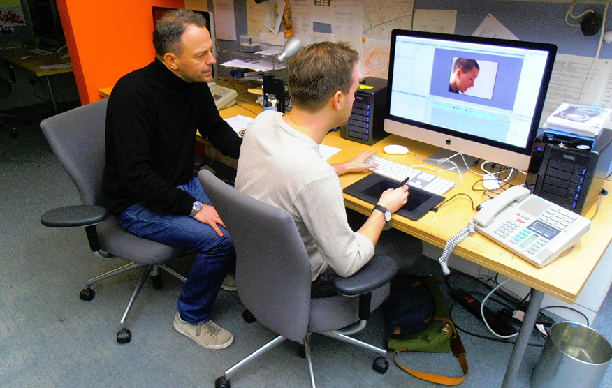 Mark Ayres & editor Ben Hunt at Team, working on the <strong>Real Money</strong> DVD.
